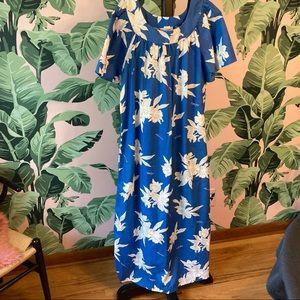 Vintage XL Blue Long Muumuu Made in Hawaii NOS